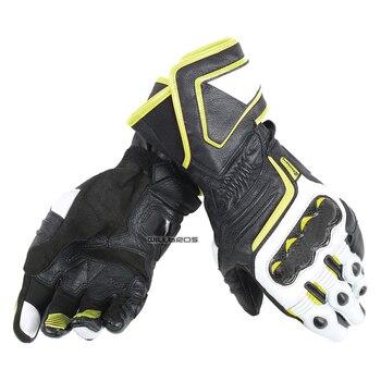 Black White Yellow Dain Carbon D1 Leather Glove Motocross MX Dirt Bike Off-road Gloves