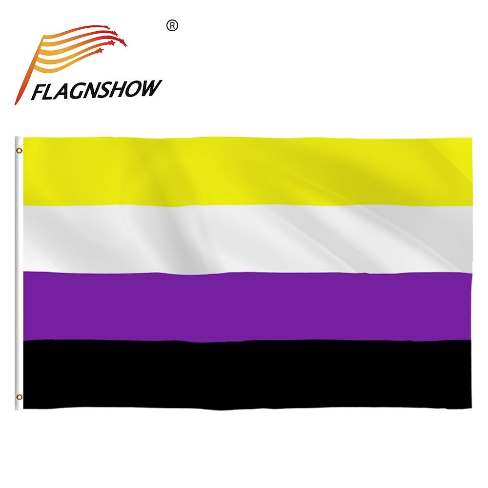 Free Shipping Flagnshow Bandera Rainbow 90 x150cm Gay Pride Non-Binary LGBT Flag