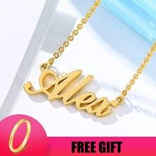 Пользовательские Ожерелье Имя Ожерелье Серебро Золото Цепи Нержавеющая Сталь Подгонянные Скоропись Старого Английского Персонализированный Подарок Для Нее