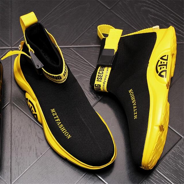 Zapatos de calcetín de punto para Hombre, Zapatillas transpirables con plataforma de malla, botines planos informales, de verano 1