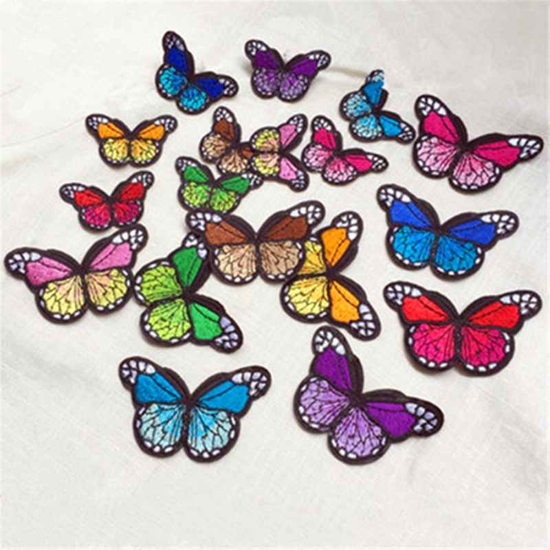 10Pcs/Set Embroidery Sew Butterfly Patch Iron On Fabric Clothes Sticker Applique DIY Ornaments Decorative Apparel Accessories
