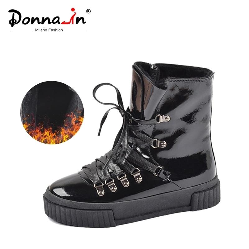 Donna-in 2019 nuevas botas de tobillo de invierno de moda para mujer plataforma de cuero de tacón alto con cordones cortos de Pulsh botas de mujer calientes zapatos de mujer