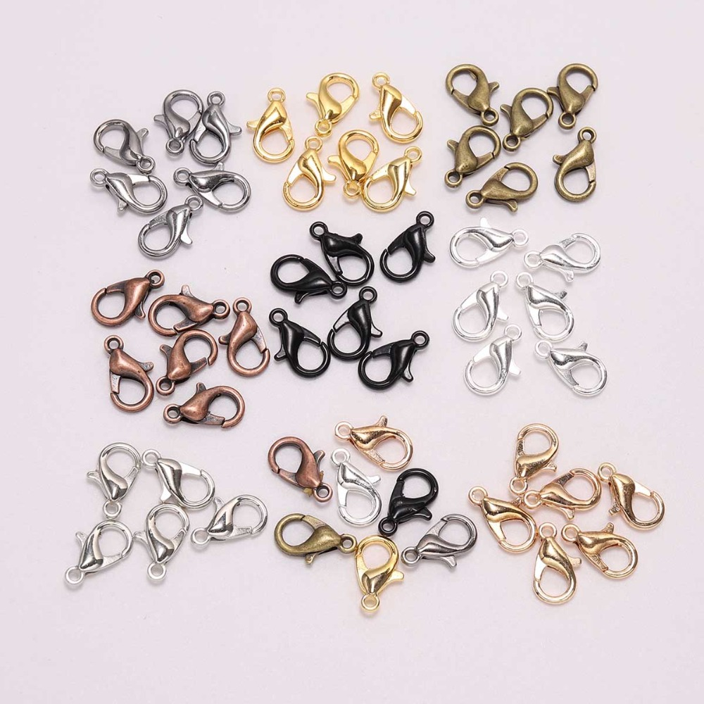50pcs/lot 12*6mm Jewelry Findings Alloy Antique Bronze Gold Silver Lobster Clasp Hooks For DIY Necklace Bracelet Chain Accessory