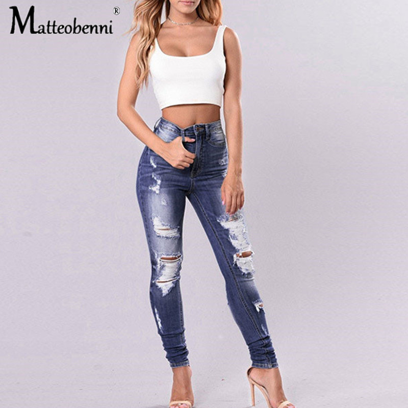 New 2020 Spring Fashion High Waist Mom Jeans Female Stretch Ripped Jeans For Women Skinny Jeans Woman Plus Size Pencil Pants|Jeans| - AliExpress
