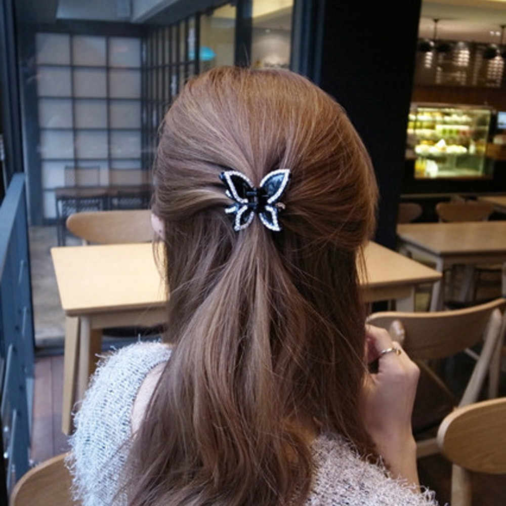 Diamond Butterfly claw clip solid elastic hair accessories women and girls headband Ponytail Holder 2020 заколки для волос