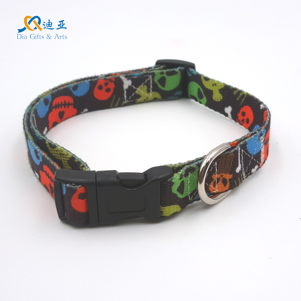 Electricity Supplier 11-2.0 Cm Thermal Transfer Skull-Polyester Cotton Skin-Friendly Pet Collar Dog Neck Ring Direct Supply