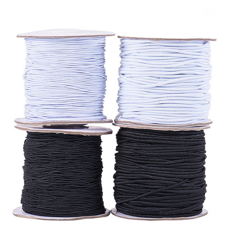1mm 1.2mm 2mm 3mm Round Elastic Cord Black White Jewelry Findings For Necklaces Earrings Bracelet Jewelry Making DIY