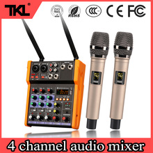 TKL R2 Sound Mixing Console 4 Channel Bluetooth USB Record Effect Audio Mixer with built Wireless Microphone 48V phantom power