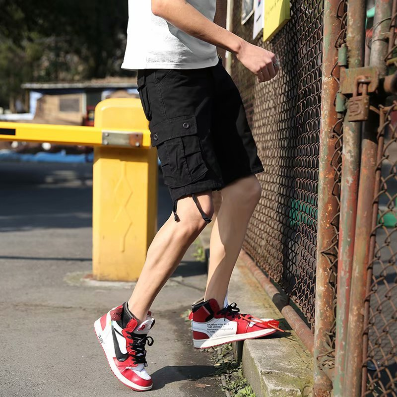 Hong Kong Style Summer Shorts Men Popular Brand Loose-Fit Multi-pockets Straight-Cut Casual Pants Male STUDENT'S Short Bib Overa