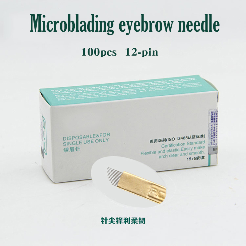 100 pcs 12 Pin Permanent Makeup <font><b>Eyebrow</b></font> <font><b>Tatoo</b></font> Blade Microblading Needles For 3D Embroidery Manual Tattoo <font><b>Pen</b></font> Machine image