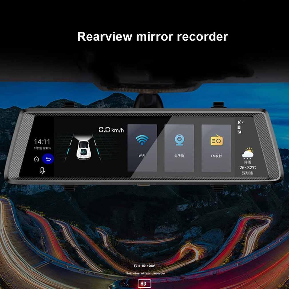 Pantalla táctil IPS 1080P DVR de doble lente Dashcam Monitor de aparcamiento cámara de espejo retrovisor grabadora de conducción