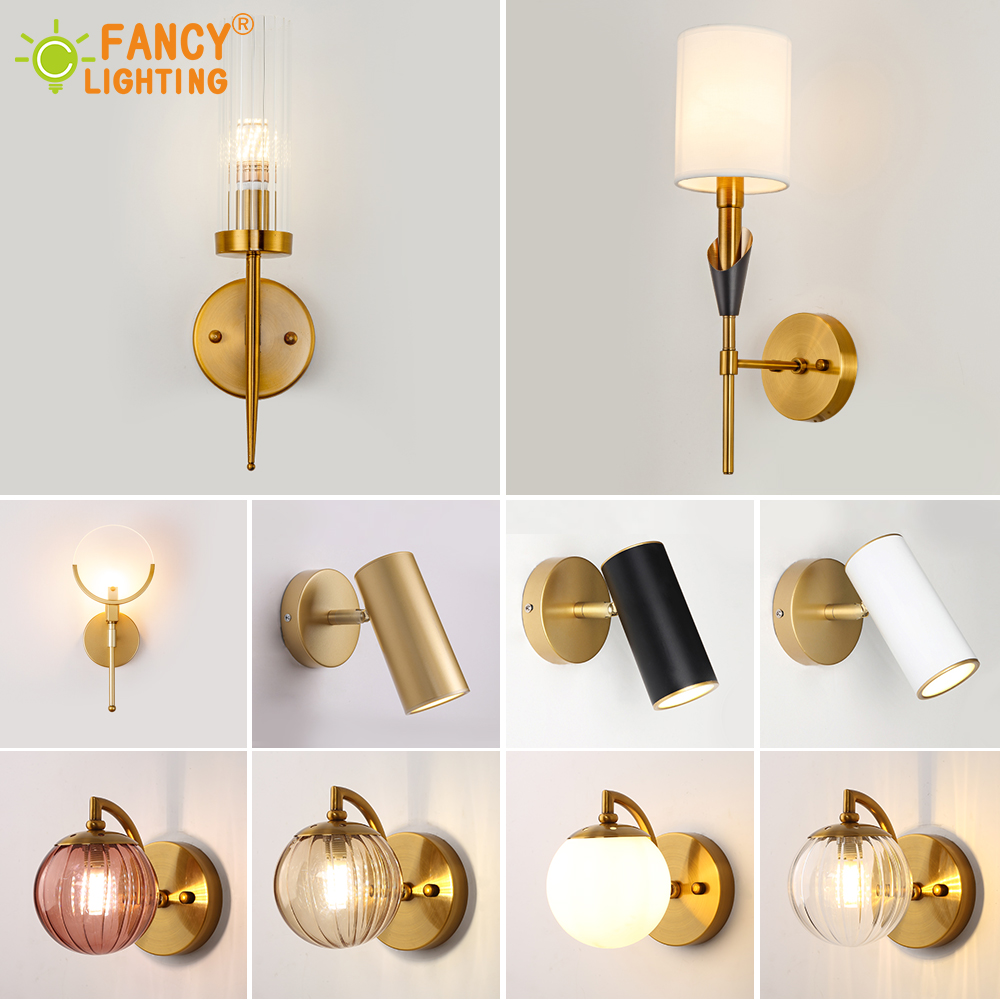 (Light Source For Free) Modern Wall Lamp Stairs Led Wall Lights For Home Bathroom/bedroom Light Glass/Fabric Shade Wall Sconce