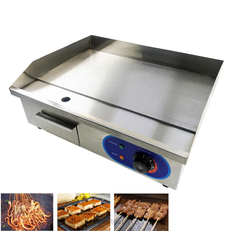 Commercial Home Electric Griddle Flat Counter Top Contact Grill BBQ Grill Stainless Steel Electric Frying Pans Fryer Teppanyaki