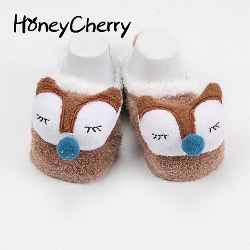 Winter Coral Fleece Socks Child Baby Infant Children Cartoon Doll Feather Yarn Floor Baby Socks cute  Funny Sock 1