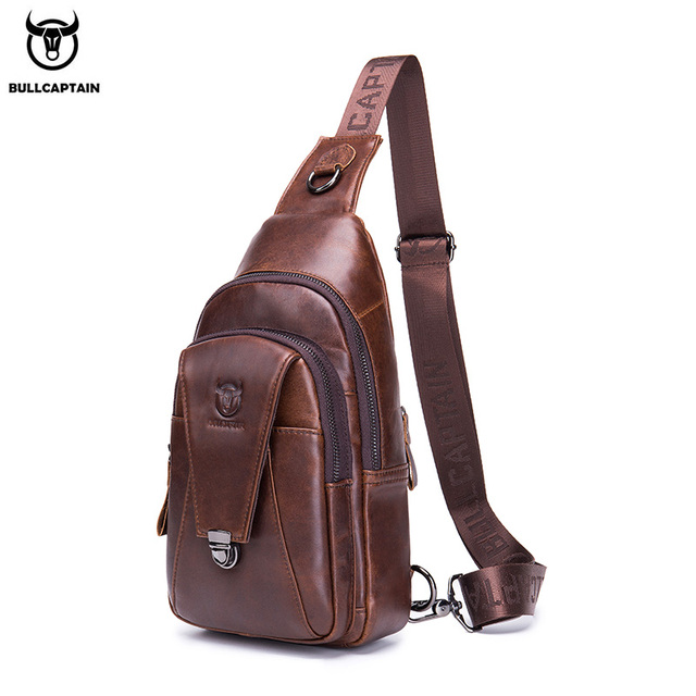 BULLCAPTAIN Genuine Leather Chest Back Pack chest bag men fashion Messenger bags Multifunctional card bages mobile phone bags