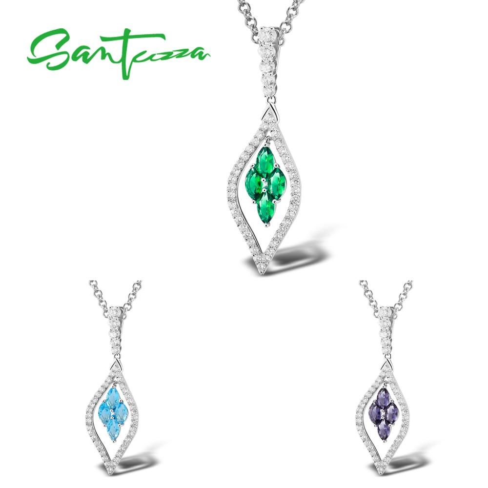 SANTUZZA Silver Pendant For Women Pure 925 Sterling Silver Chic Sparkling Green Purple Blue Trendy Party Pendant Fine Jewelry