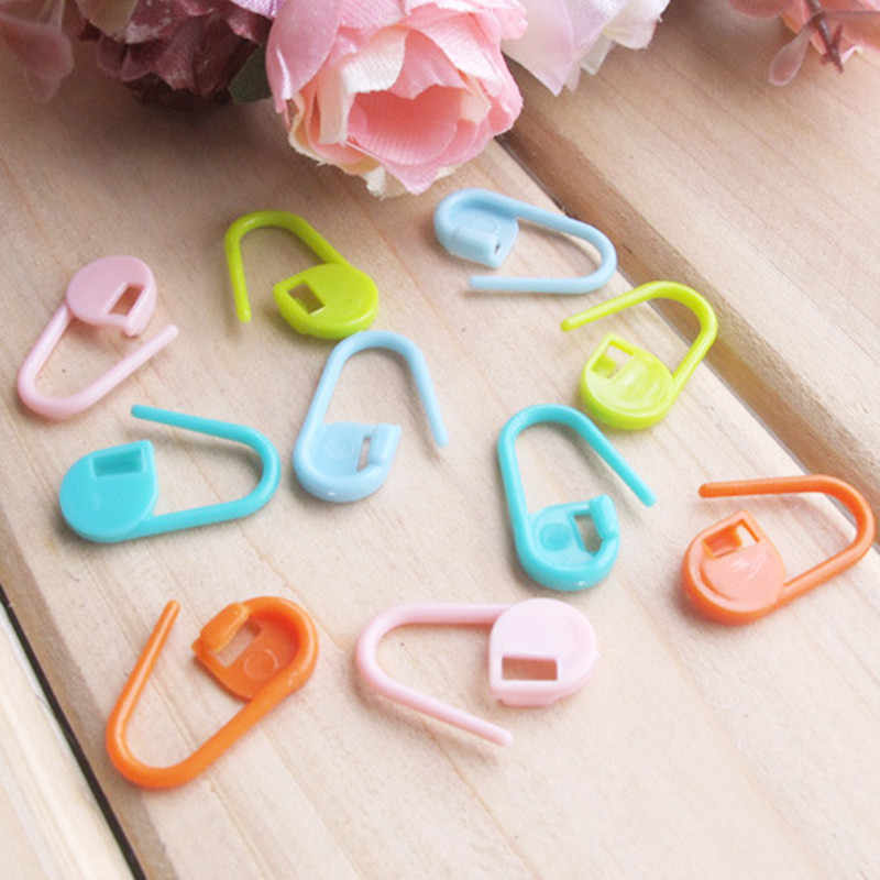 Hot 10/20/30pcs/lot Mix Color Plastic Knitting Tools Locking Stitch Markers Crochet Latch Knitting Tools Needle Clip Hook