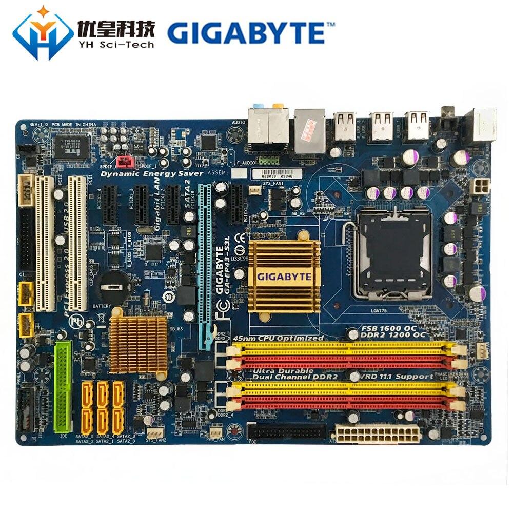 Gigabyte GA-EP43-S3L Intel P43 Original utilizado escritorio placa base LGA 775 DDR2 16GB SATA2 USB2.0 ATX Placa base de escritorio X58 LGA 1366 4 canales DDR3 32GB RAM para Intel E5520/L5520 X5650 Core I7