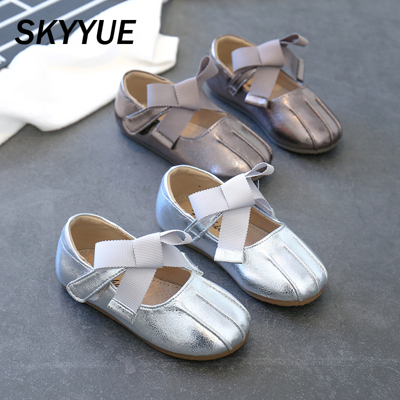 2020 Spring Toddler Bow Princess Shoes Baby Girls Pu Leather Dress Shoes Children Brand Flats Sweet Pink Shoes Fashion Mary Jane
