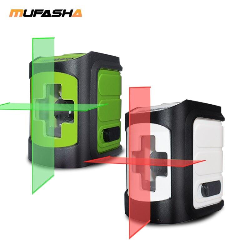 MUFASHA Mini 2 Linien Laser Ebene Roten Strahl oder Grüne Strahl Selbst Nivellierung Laser Ebene in Box