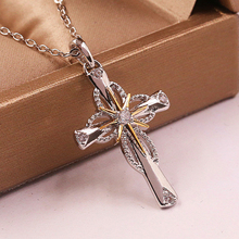 Religious Cross Necklaces Gold and Silver Two-tone Stars Clear Zirconia Pendant Necklaces Woman Man New Fashion Gifts цена 2017