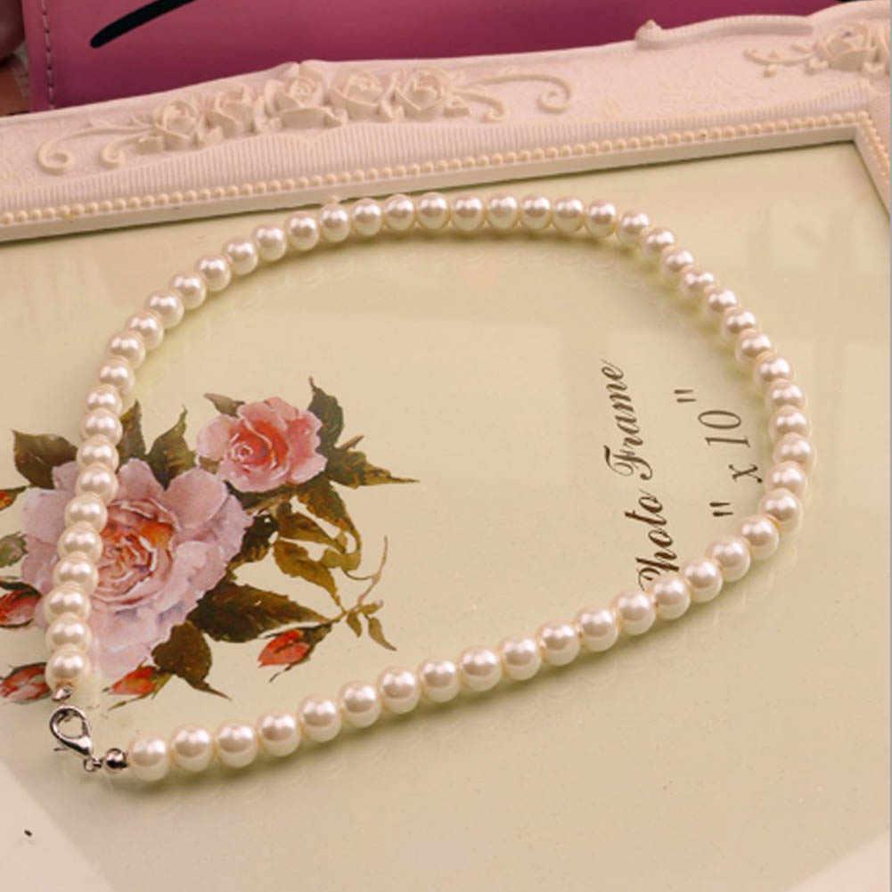 Putih Imitasi Mutiara Air Tawar Kalung untuk Wanita 40 Cm Klasik Peal Manik-manik Kalung Fashion Perhiasan Harga Grosir