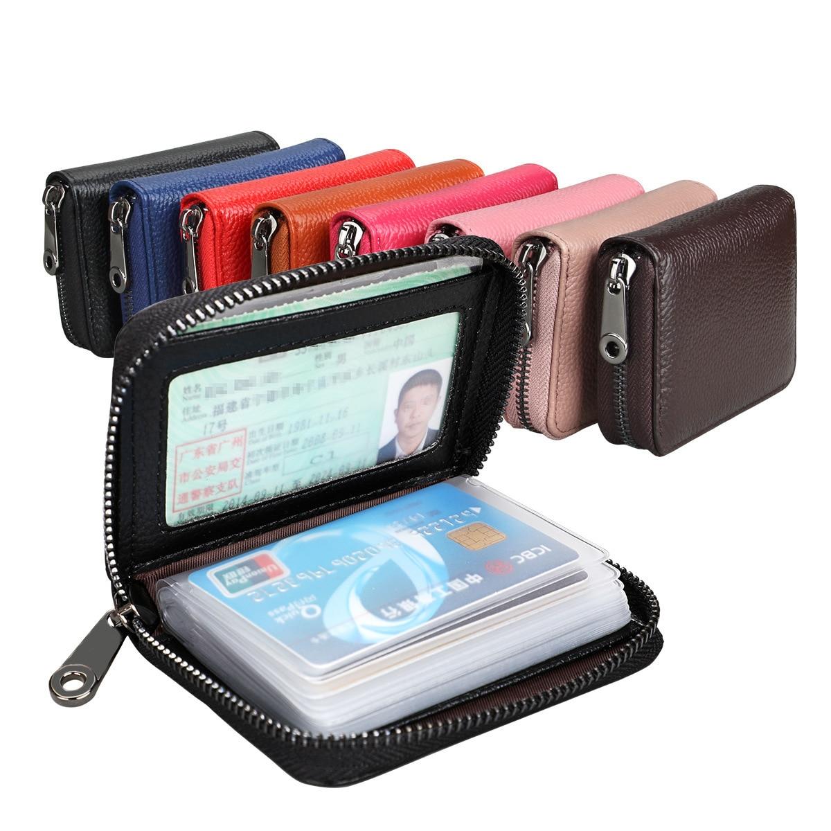 Держатель для карт из натуральной кожи с RFID-защитой, 20 отделений