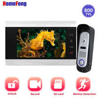 Homefong 7 Inch Video Door Phone Doorbell Intercom System with Record 1 Monitor and 1 Doorbell Camera 800TVL Photo/Picture