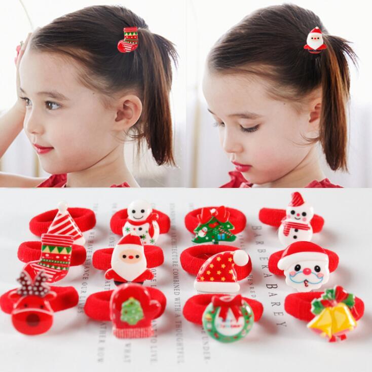 2PCS/ Pairs Of Fashion Girls Lovely Popular Christmas Hair Strings Snowman Children's Elastic Hair Adornment