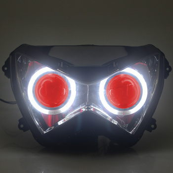 Custom Fully Assembled Projector Headlight Assembly HID White Angel Eyes Red Demon Eyes For Kawasaki Z800 Z250 13-15, Z300 15-16