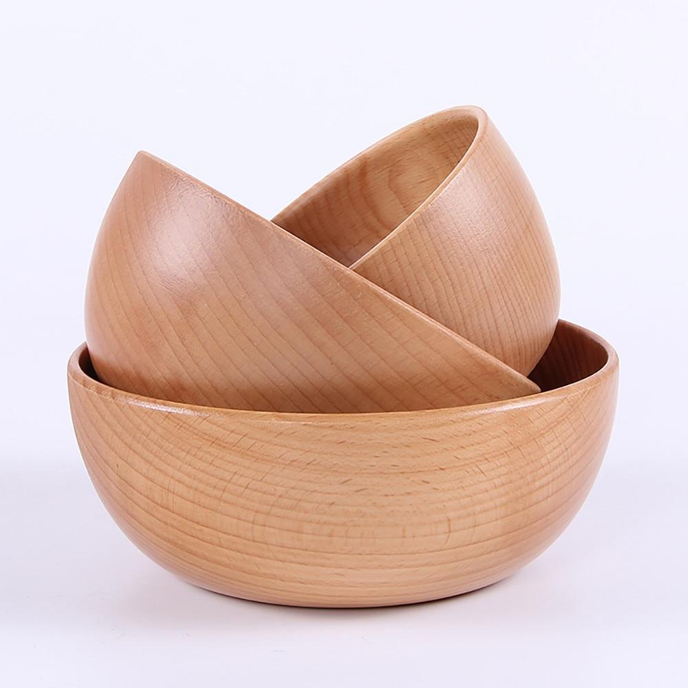 Bowl Tableware Wooden Utensilio-De-Cozinha Japanese Children's Solid Criativos Grand-Saladier