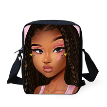 Black Queen Shoulder Crossbody Bags for Women Art African Girl Printing Handbags Ladies Kids Mini Book Bag