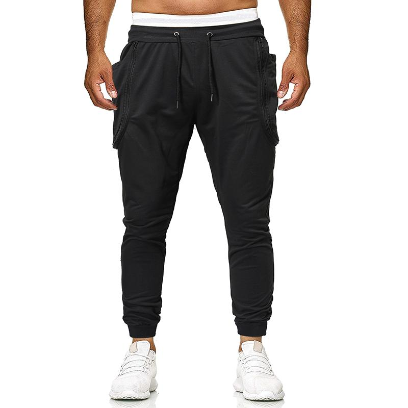 Outwear Sportswear Men Pants  Joggers & Sweats Zipper stitching Sports Fitness Slim Fit grey black