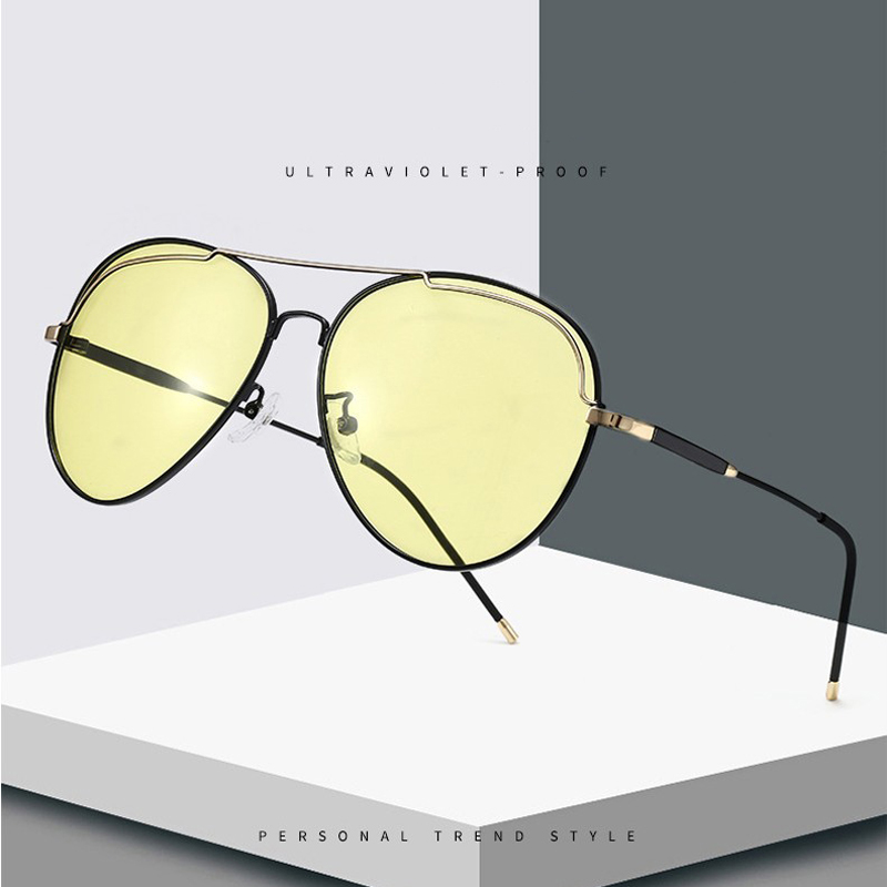 2020 Polarized Sunglasses Men Square Car Driving Anti Blue Light Glasses Photochromic Yellow Day Night Vision Driver Eyeglasses