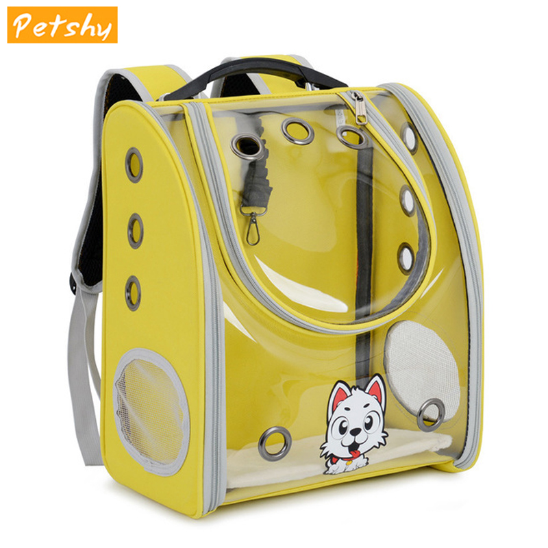 Petshy Portable Travel Cat Carrier Backpack Window Transparent Pet Space Capsule Carrier Bag Puppy Small Dogs Cat Carrying Bag