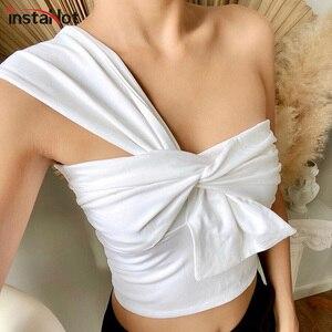 InstaHot one shoulder tank tops women elegant bandage tube crop tops 2020 summer solid white sexy casual elegant female tank top