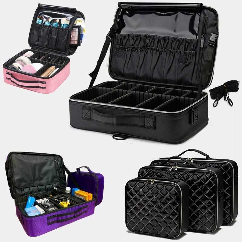 2020 profesyonel makyaj organizatör kozmetik durumda Bolso Mujer kozmetik çantası PU büyük kapasiteli saklama kutusu çok katmanlı çanta yeni