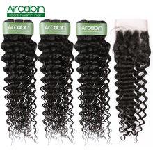 Aircabin Brazilian Deep Wave Human Hair 3 Bundles With 4x4 Lace Closure Remy Tissage