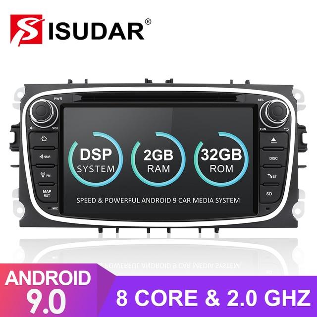 Isudar rádio automotivo 2 din, android 9, para ford/focus/S MAX/mondeo/C MAX/galaxy dvd multimídia gps usb dvr, octa core rom 32gb dvr