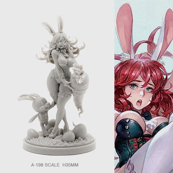 35MM Resin Figure Kits Bunny Beauty Model Self-assembled A-198