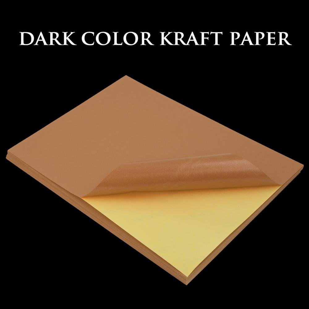A4 50/100sheets Blank Copy Paper Kraft Matte Printable Self Adhesive Lable Paper For Office Laser Inkjet Printer Packaging Lable