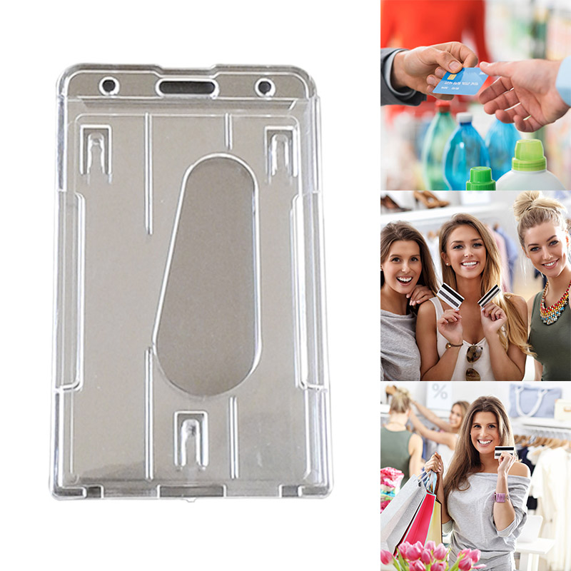 Clear Transparent ID Card Holder Protector Cover Case For Employee Badge Cards J99Store