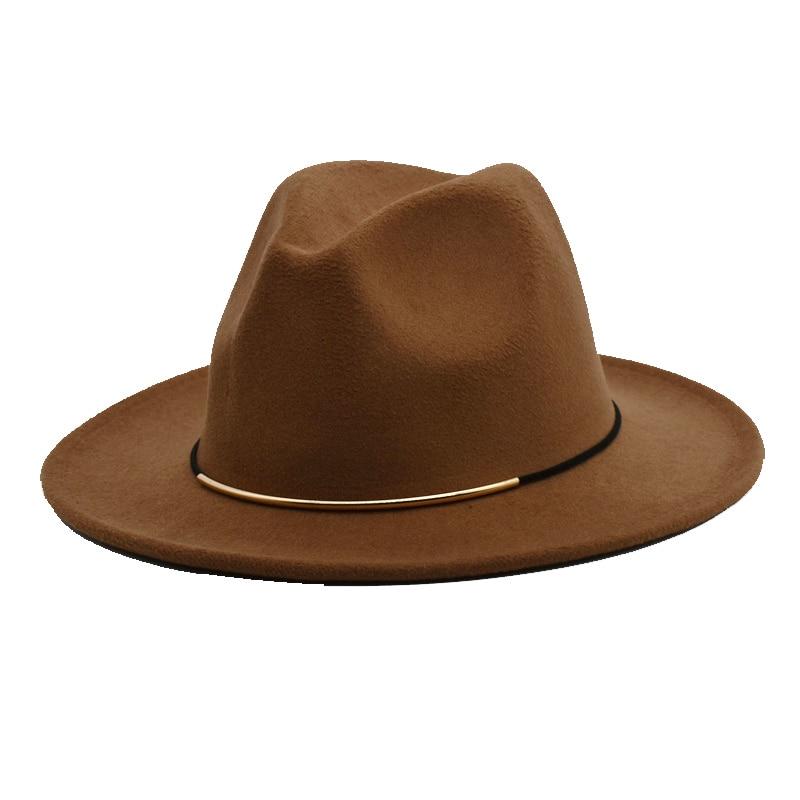 Fashion Men Fedoras For Women Spring Wool Hats Black Jazz Caps Wide Brim Gentleman Elegant Lady Vintage Hat F14
