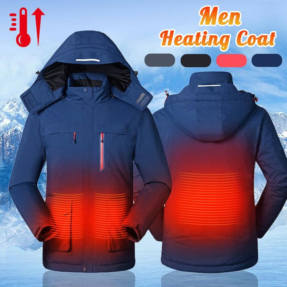 Winter Men's Smart USB Electric Heating Warm Jacket Solid Warm Down Zipper Coat For Outdoor Ski Hiking Sportswear