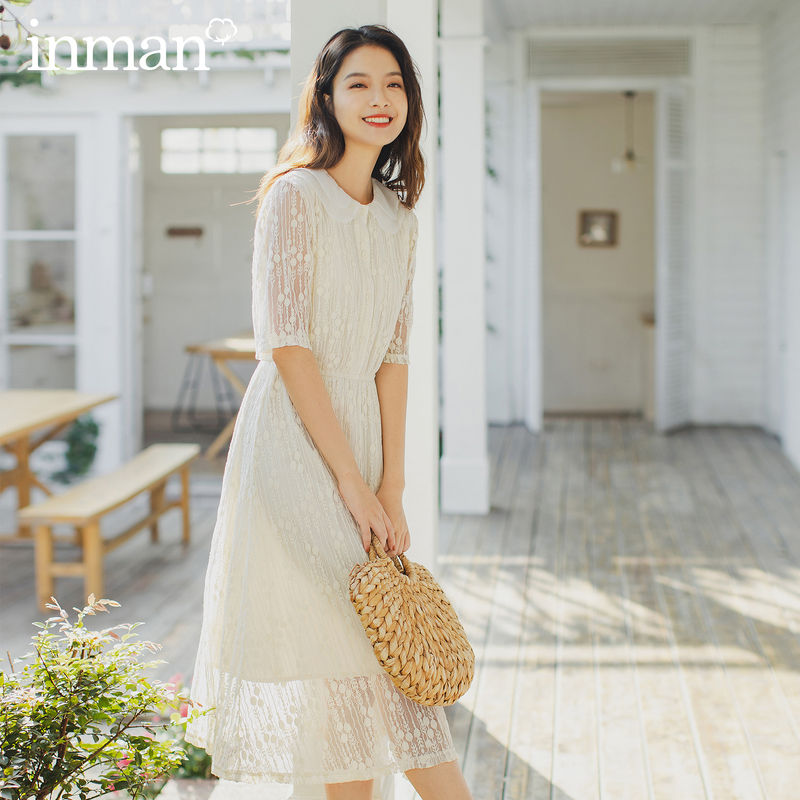 INMAN 2020 Summer New Arrival Double Lapels Lace Gauze Elegant Temperament Nipped Waist Fairy Half Sleeve Dress