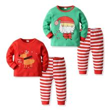 2019 Autumn Winter Fashion Kids Baby Girl Boy Clothes Long Sleeve Cartoon Print Top+ Stripe Pants Christmas Outfits Set