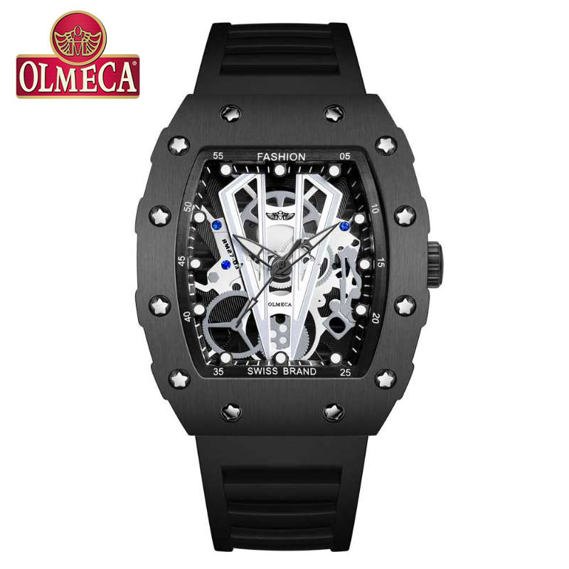 OLMECA Top Brand Mens Sport Watches Black Skeleton Quartz Watches Military Waterproof Watch Erkek Saat Relogio Masculino 2019
