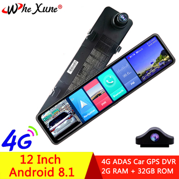 WHEXUNE 2020New Full HD 1080P 12 inch touch IPS Car DVR Android 8.1 with GPS Navigation WIFI Bluetooth ADAS Google play dash cam image
