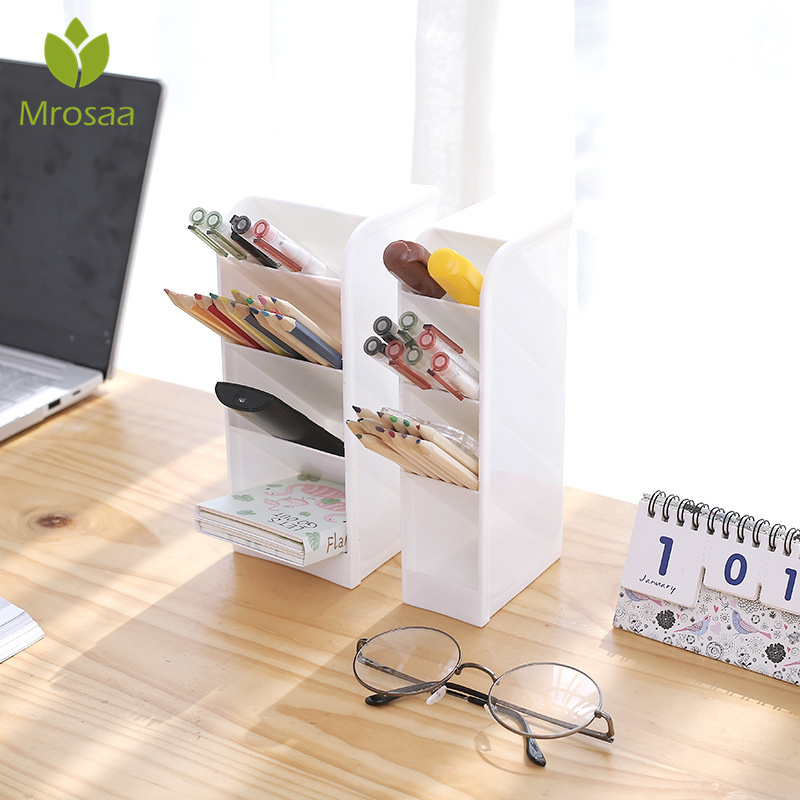 Case Cosmetic-Holder Pencil-Organizer Desk Desktop-Storage-Box Makeup 4-Grids Creative
