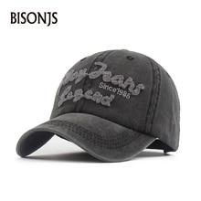 BISONJS к 2020 году новые моды для мужчин помытая крышка письма вышивка ретро женщины Бейсбол свободного покроя воздухопроницаемый Солнца шляпа для унисекс